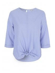 Womens Blue Stripe Tie Front Top