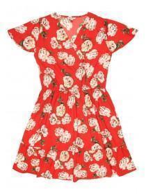Older Girls Red Floral Wrap Dress