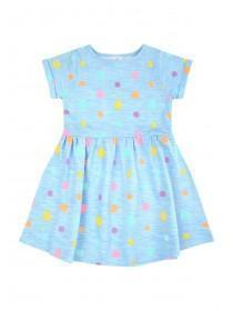 Younger Girls Blue Polka Dot Dress