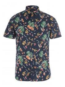 Mens Navy Hawaiian Print Short Sleeve Shirt