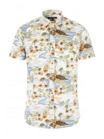 Mens Blue Hawaiian Print Shirt
