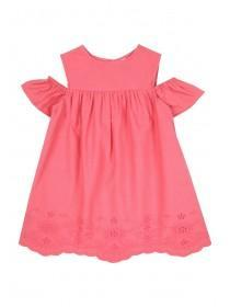 Younger Girls Pink Cold Shoulder Dress