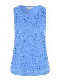Womens Blue Lace Front Vest Top