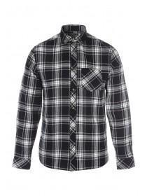 Mens Black and White Check Flannel Shirt