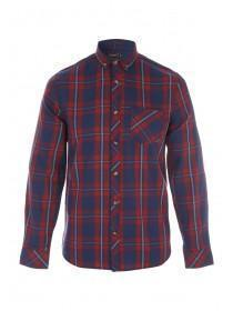 Mens Blue and Red Check Flannel Shirt