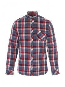 Mens Blue, Red and White Check Flannel Shirt