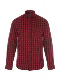 Mens Red and Black Check Flannel Shirt