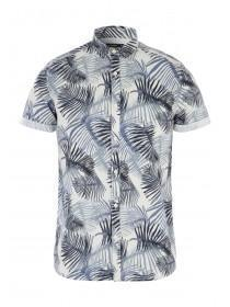 Mens Blue Tropical Print Shirt