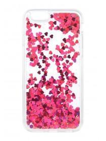 Womens Pink Heart Sequin Phone Case