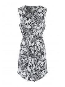 Womens Monochrome Palm Print Belted Tunic Dress