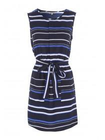Womens Blue Stripe Belted Tunic Dress