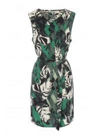 Womens Green Palm Print Belted Tunic Dress