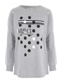 Womens Grey Slogan Sweater