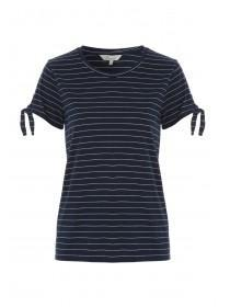 Womens Navy Tie Sleeve Stripe T-Shirt
