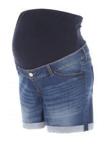 Maternity Blue Denim Over The Bump Shorts