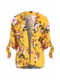 Womens Yellow Tropical Print Kimono