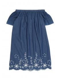 Older Girls Blue Embroidered Bardot Dress