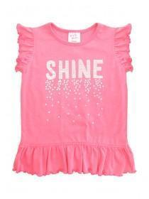 Younger Girls Pink Sequin Shine Slogan T-Shirt