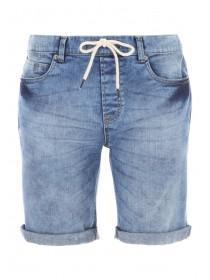 Mens Blue Denim Draw Cord Shorts