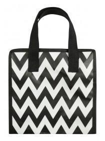 Womens Monochrome Chevron Lunch Bag