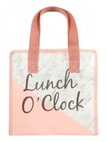 Womens Pink Marble Lunch Bag