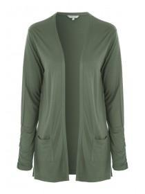 Womens Khaki Long Line Cardigan