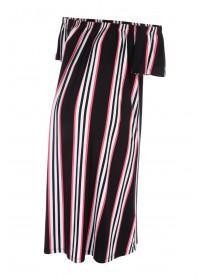 Maternity Black Stripe Bardot Dress