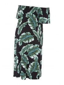 Maternity Green Palm Bardot Dress