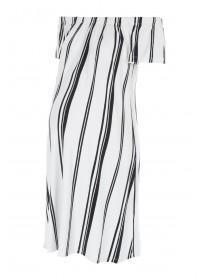 Maternity Monochrome Stripe Bardot Dress