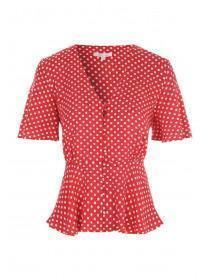 Womens Red Polka Dot Button Up Top