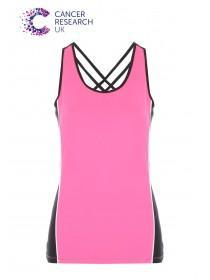 Womens Pink Cancer Research UK Cross Back Vest