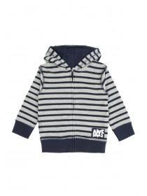 Younger Boys Grey Stripe Zip Hoody
