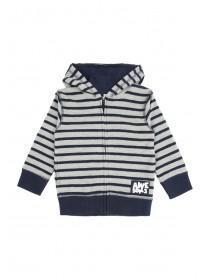 Younger Boys Grey Stripe Zip Hoody