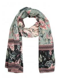 Womens Green Floral Print Scarf