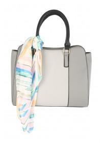 Womens Grey Square Tote Bag With Multicolour Scarf