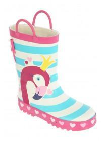 Younger Girls Pink Flamingo Wellies