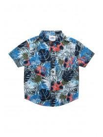 Younger Boys Blue Palm Short Sleeve Shirt