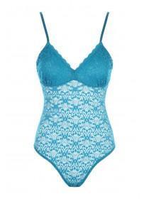 Womens Teal Lace Bodysuit