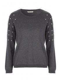 Womens Grey Pearl Shoulder Jumper