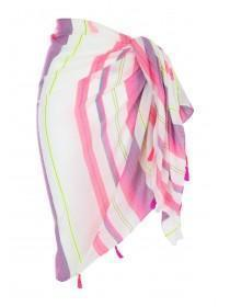 Womens Pink Stripe Beach Scarf Cover Up