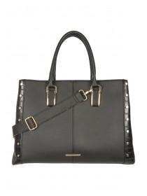 Womens Black Multi Compartment Stud Tote Bag