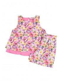 Younger Girls Pink Floral Top and Shorts Set