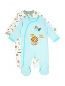 Baby Boys 2pk Aqua Animal Sleepsuits