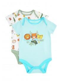 Baby Boys 2pk Aqua Animal Bodysuits