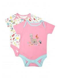 Baby Girls 2pk Pink Animal Bodysuits