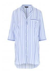Womens Blue Stripe Boyfriend Nightshirt