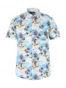 Mens Aqua Hawaiian Print Shirt