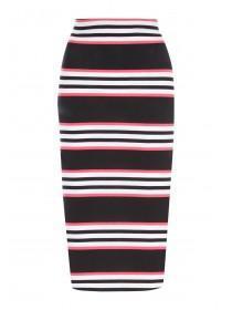 Womens Monochrome Stripe Midi Skirt