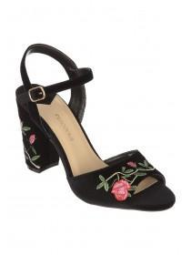 Womens Black Embroidered Block Heels