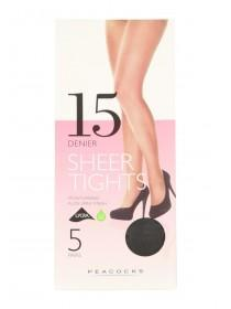 Womens 5pk 15 Denier Black Bare Tights Large
